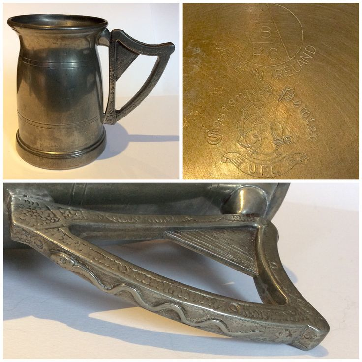 Pewter Tankard with Irish Harp handle that seems to be made of a different material. Did someone find the harp and think it would look great on a tankard? Love it!