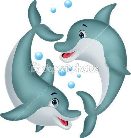desenho de golfinho bonito casal — Ilustração vetorial #27979461