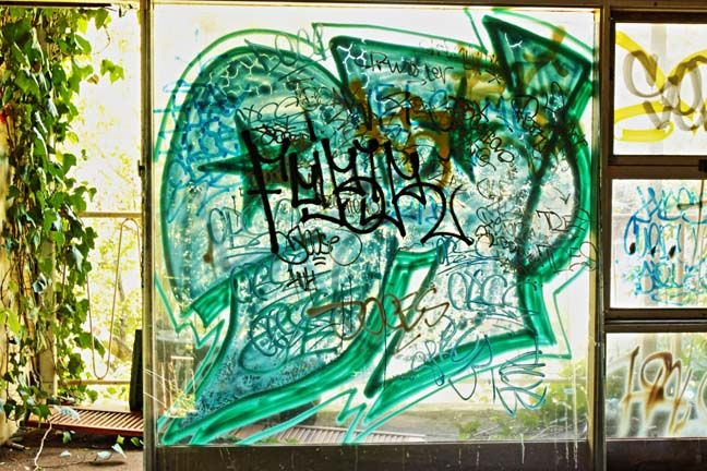 Abandoned hotel in Glebe. Double glazed graffiti.