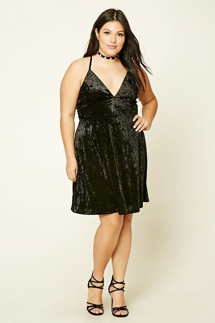 Forever 21+ - A knit crushed velvet cami dress featuring a V-neckline, adjustable cami straps with a support strap, and an invisible back zipper.