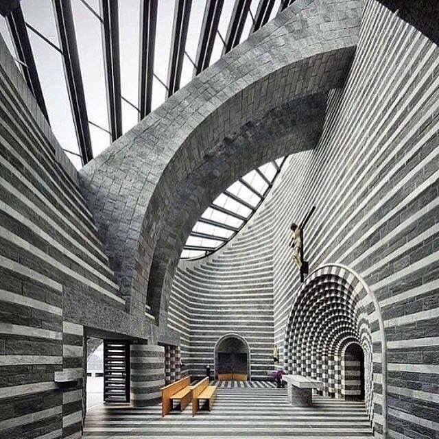 Mario Botta, church of Saint Jean-Baptiste, mogno, Switzerland, 1996  #streetphotography #photography #blackandwhitephotography