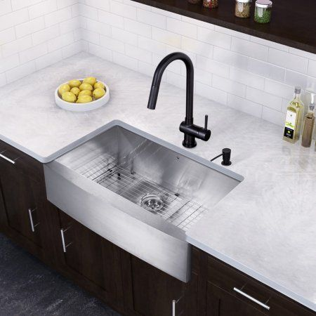 36 inch kitchen sink oversized island vigo all in one stainless steel farmhouse and gramercy matte black faucet set silver