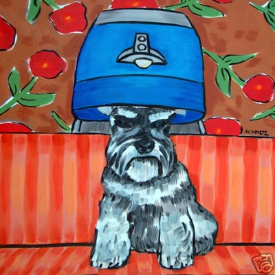 schnauzer salon picture animal dog art tile coaster | eBay