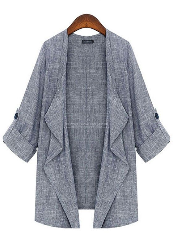 ++ Grey Collarless Sleeve Linen Cotton Trench Coat