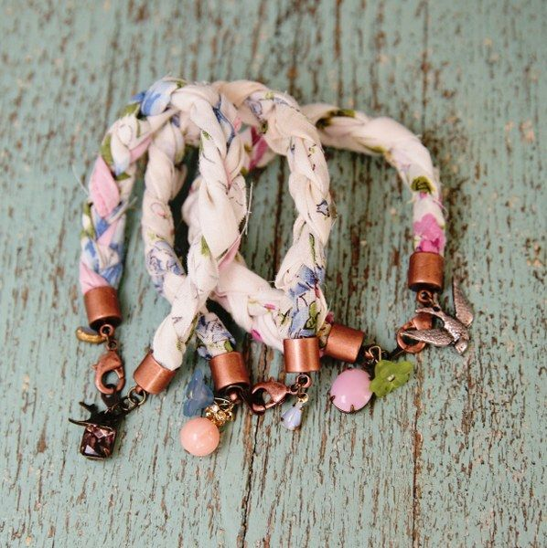 DIY: fabric scrap braided bracelets