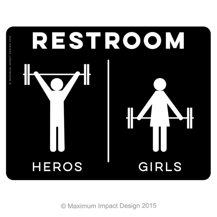 """10 x 7.5 in. 1/8"""" thick White on Black Acrylic Unisex- Designing items for a Crossfit Aptos these were a must restroom sign. CFA will have my products on their new website for other boxes to buy. More items in the works! HEROS/GIRLS Adhesive Strips on the back. Made in the USA Pricing subject to change based on how many orders I get this first round. The more orders the lower the pricing per sign. Please email me if you have questions."""