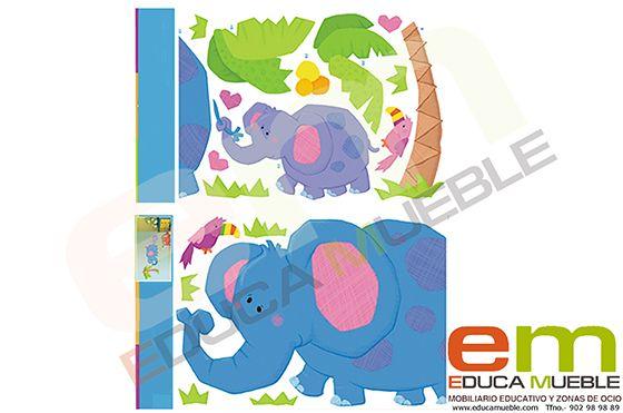 Pegatinas grandes de elefantes. Se pueden cor en un espejo, en la pared o en una cristalera. Tienenuna superficie mate y son fáciles de quitar. - Tienda Educamueble