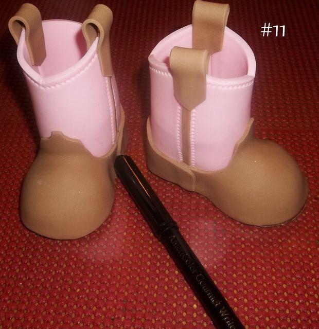 Fondant Baby Cowboy Boots Tutorial - by KosmicCustomCakes @ CakesDecor.com - cake decorating website