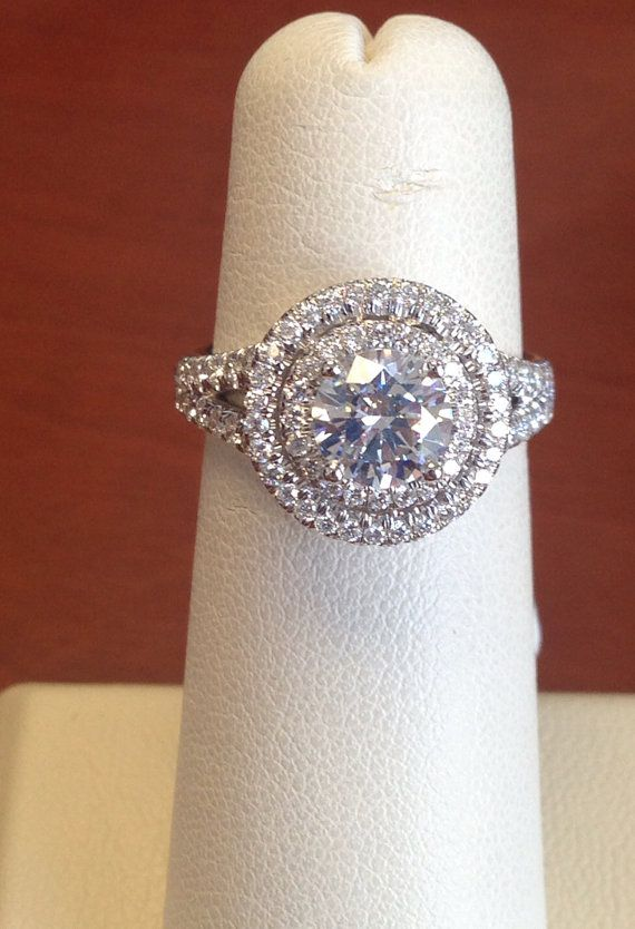 Ladies 14kt white gold diamond double halo engagement by EVSdesign