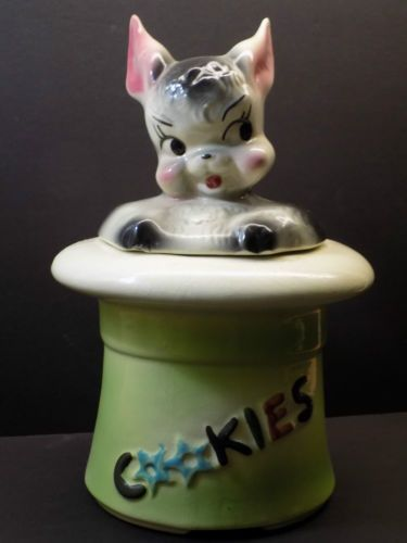 Vintage-1950s-American-Bisque-Co-MAGIC-BUNNY-Rabbit-Anthro-Figural-Cookie-Jar