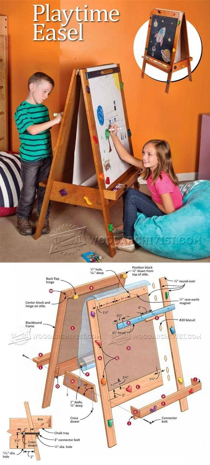 Kids Easel Plans - Wooden Toy Plans and Projects   WoodArchivist.com