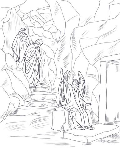 Angel Tells The Women That Jesus Has Risen Coloring Page From Resurrection Category Select