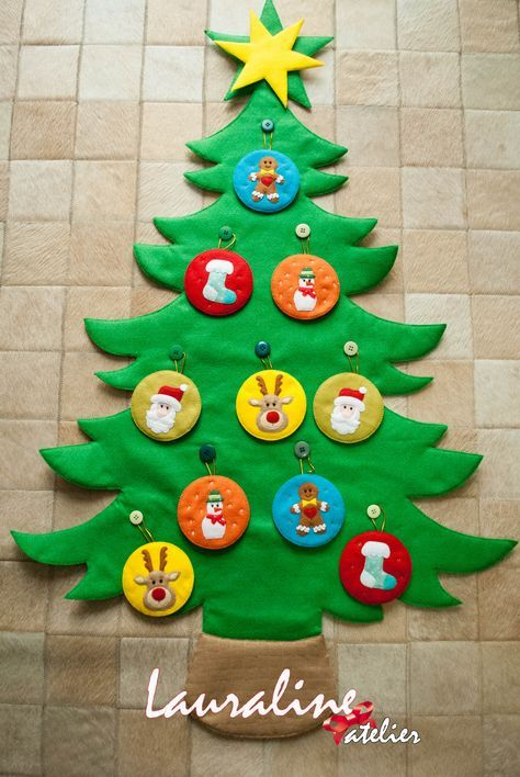 Árvore de Natal em Feltro #lauralineatelier #feltrossantafe #christmastree #felttree #feltro #arvoredenataldefeltro
