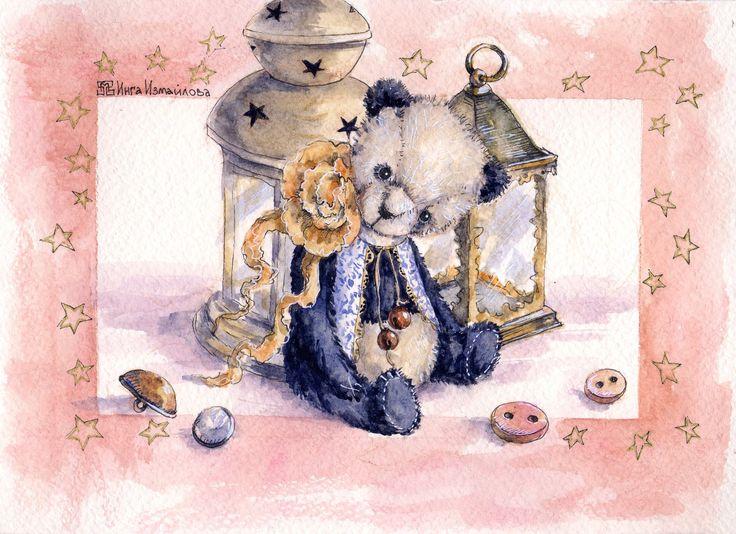 bears dolls toys watercolor postcards открытки куклы мишки тедди акварель по мотивам работ Татьяны Бодровой