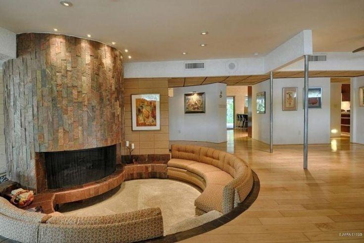 Purple and tan living room
