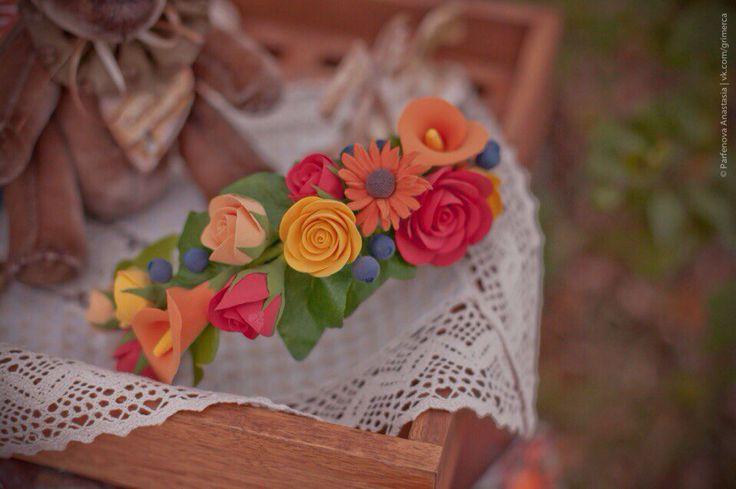 Fall accessories handmade polymer clay headband