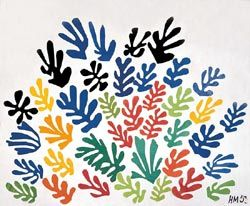 "La Gerbe, a paper cut-out by Henri Matisse, multicolored leaves that resemble a spray of flowers, was completed a few months before his death, but it explodes with life. The cut out was not an renunciation of painting and sculpture: he called it ""painting with scissors."" Matisse said, ""Only what I created after the illness constitutes my real self: free, liberated."""