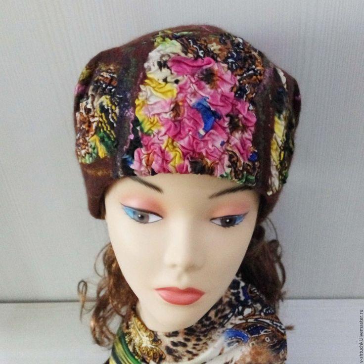 Купить Шапка валяная Pink orchid - абстрактный, шапка женская, шапочка женская, шапка на осень