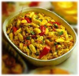 Ackee and Saltfish - the national dish of Jamaica - ackee grows on trees and if eaten before ripe, is toxic.  cooked, canned ackee has the consistency (and look) of soft scrambled eggs and it's delicious when prepared the traditional Jamaican way with sweet and scotch bonnet peppers, tomatoes, onions, spices and saltfish.  add a side of coco bread, sliced avacado and some tropical juice and you've got the perfect breakfast