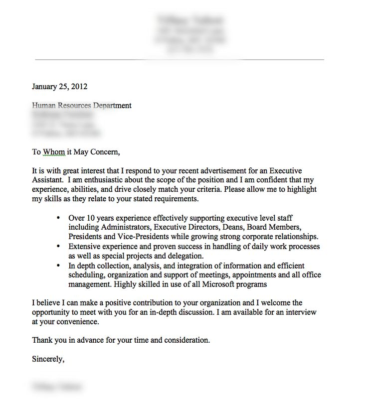 a very good cover letter example