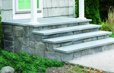 Weekend Remodel: How to Clad Concrete Steps in Stone