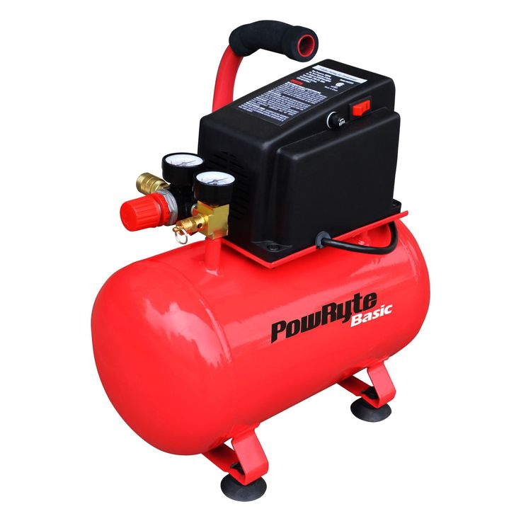 PowRyte Basic 103331 3 Gallon Oil-Free Hotdog Portable Air Compressor - 100 PSI. 0.6 SCFM @ 90 PSI,100 max PSI, 3 Gallon Tank. Maintenance-free oilless pump for convenience. Fully enclosed motor housing for better protection; Carry handle for easy portability. Fully adjustable locking regulator to retain output pressure. Thermal overload protection for safety.