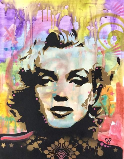Marilyn 1.2 £1,205.00  By Dean Russo        Hand cut stencil, acrylic, spray paint and ink on paper        Measures 18 x 24''