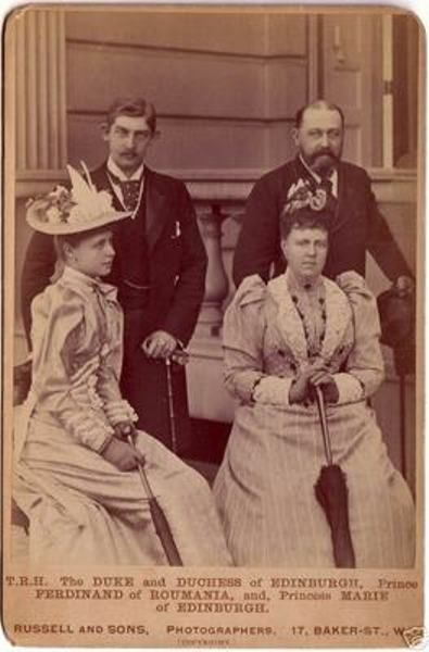 Grand Duchess Marie with her husband, Prince Alfred, and Prince Ferdinand and Marie of Romania.