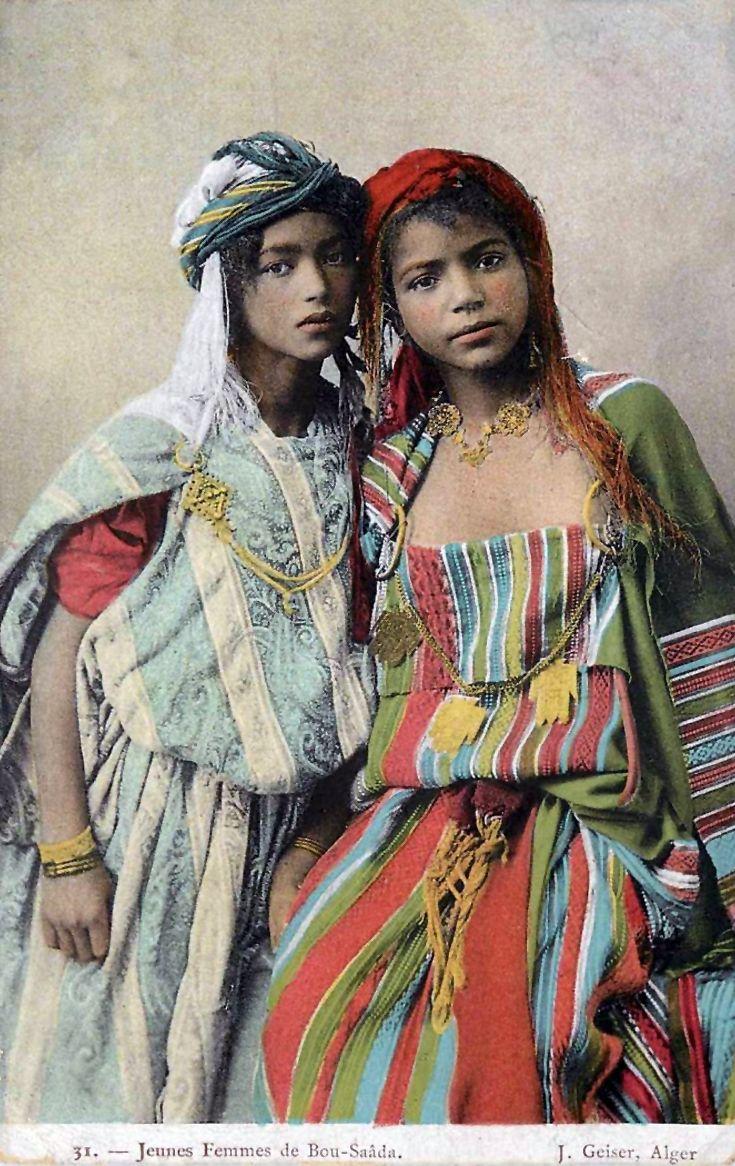 "Africa   ""Jeunes Femmes de Bou Saâda"".  Algeria    Vintage postcard; publisher J. Geiser, Alger.  No. 31."
