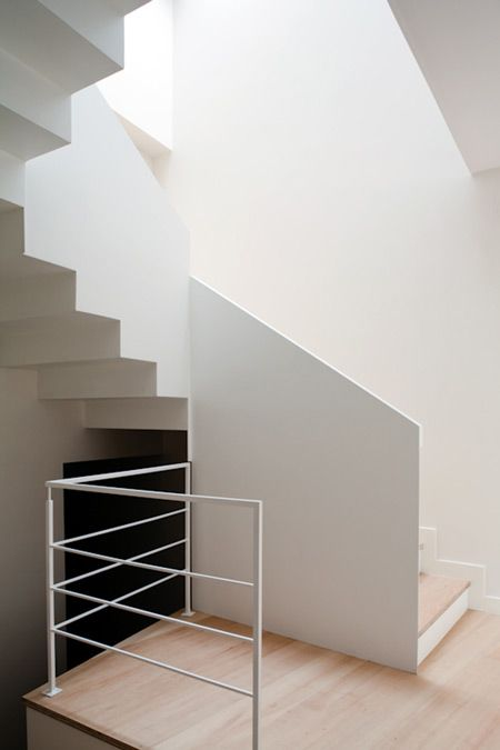 Interior shot of a house designed on a steep site in the north of Spain.