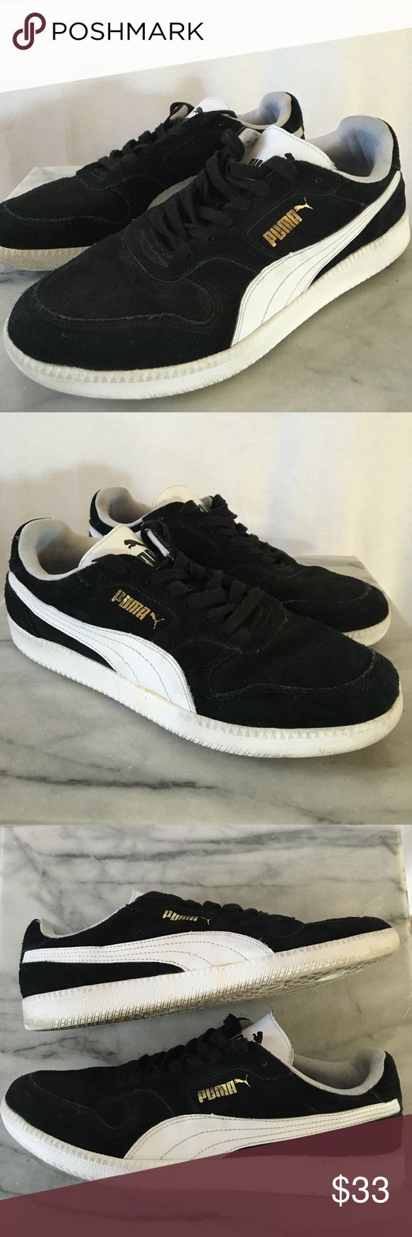 Puma Icra Trainer This is the Puma Icra trainer. Black suede upper with a white logo/tongue and gold Puma emblem. Sz 9. Thanks! ‼️ Puma Shoes Athletic Shoes