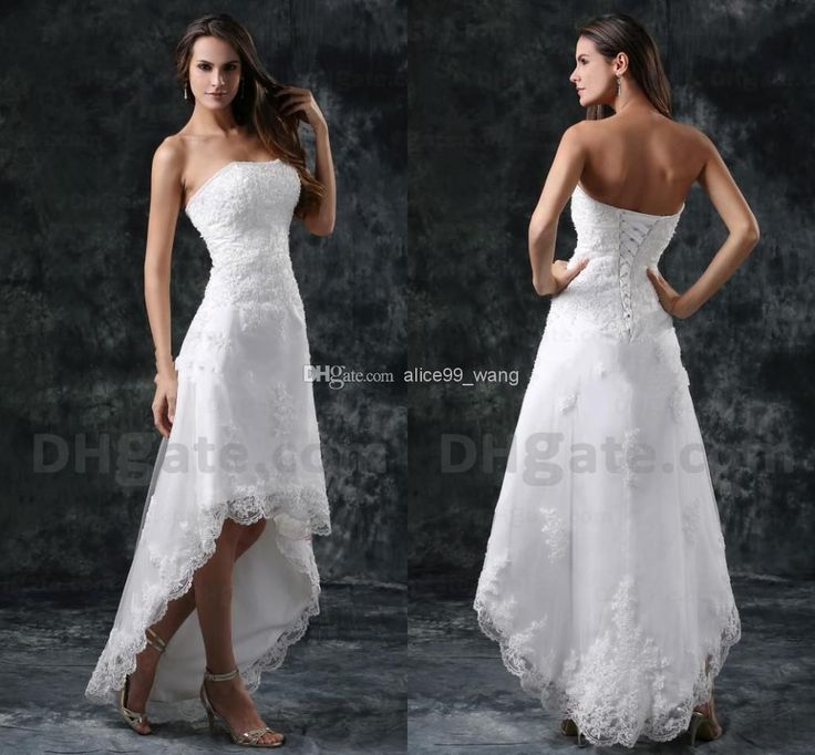 Wholesale 2014 Wedding Dress - Buy 2014 New Arrival Best Selling!!A_ Line High_Low Lace Strapless Beaded Concise Elegant Noble For Perfect Wedding Bridal Dress Style 42, $169.99 | DHgate