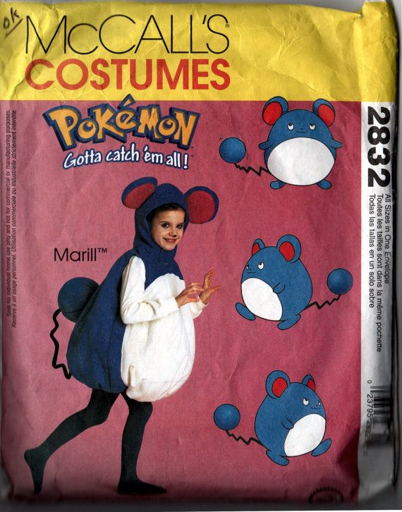 Childrens/Boys and Girls Halloween Costume Sewing Pattern, McCalls 2832, POKEMON: Marill, Popular 1990s Game Character, Gotta Catch em All. All sizes included--Childrens 4 and 5-6, and Boys/Girls 7-8. See back of pattern envelope for measurements and fabric needed.  Both pattern and envelope are in good used condition. All pieces are present including instruction guide. Some pieces have been carefully cut out. I will be happy to ship outside the US for the actual cost of shipping. Convo me…