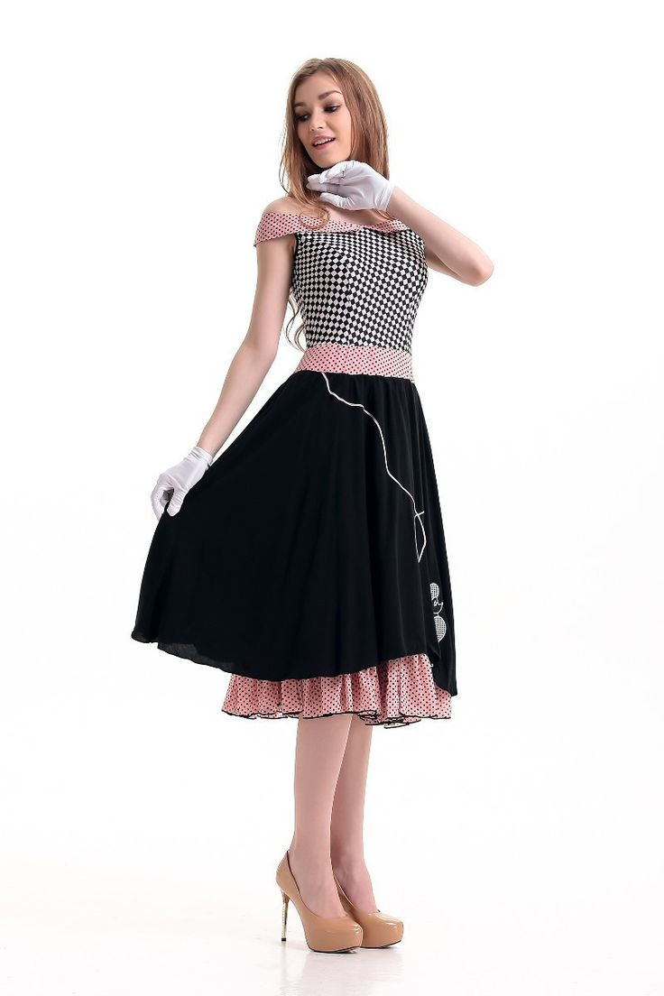 Free shipping 50s Hop with Poodle Skirt Grease Poodle Bopper Fancy Dress Womens Costume