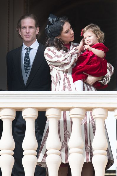 (L-R) Andrea Casiraghi his wife Tatiana Santo Domingo and their daughter India Casiraghi greet the crowd from the palace's balcony during the Monaco National Day Celebrations on November 19, 2016 in Monaco, Monaco.