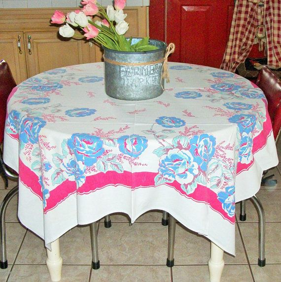 Romantic Cotton Tablecloth Blue French Peony S 1950 S French Farmhouse Table Linen Ktchen Tablecloth 52 X 63 Country Kitchen Tablecloths Tablecloths For Sale Vintage Tablecloths
