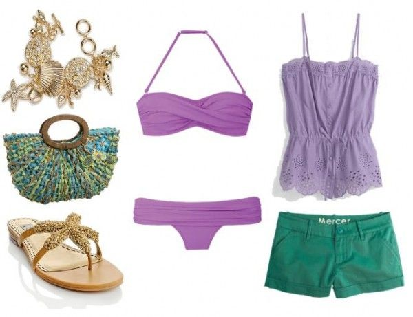 "Ariel: ""Under the Sea ~ The first outfit is based on Princess Ariel in her mermaid state. The purple bandeau bikini top is similar to her seashell top, and the green cover-up shorts are the same color as her fins. You can put the shell bracelet and starfish shoes in the adorable tote if you decide to go for a swim."""