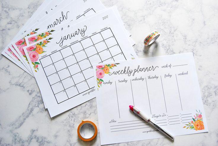Planners mensal e semanal da Sparkles of Sunshine grátis para imprimir. Free printable planners.