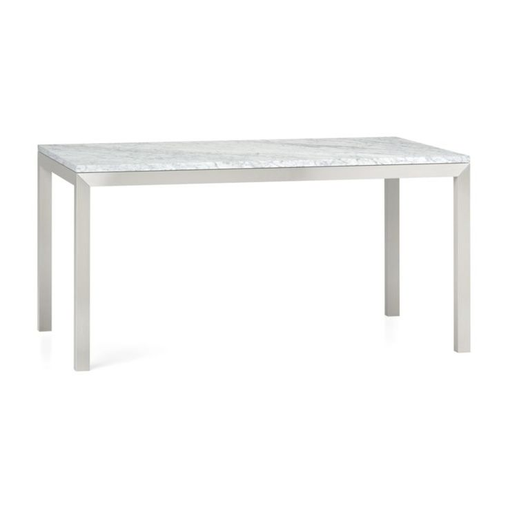 Marble Top/ Stainless Steel Base 60x36 Parsons Dining Table | Crate And  Barrel