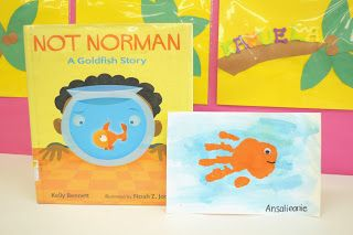 """Read """"Not Norman"""" and make goldfish hand prints, eat goldfish crackers, use color goldfish crackers to sort by color, also read """"A FIsh Out Of Water"""" eat sandwiches with the giant goldfish bread for lunch..."""