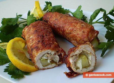 Rolls From Pork Fillet With Cheese And Cucumber - Recipe Included.