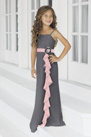 Charmeuse Ruffles,Straps Style 46 Junior Bridesmaid Dress by Alexia Designs