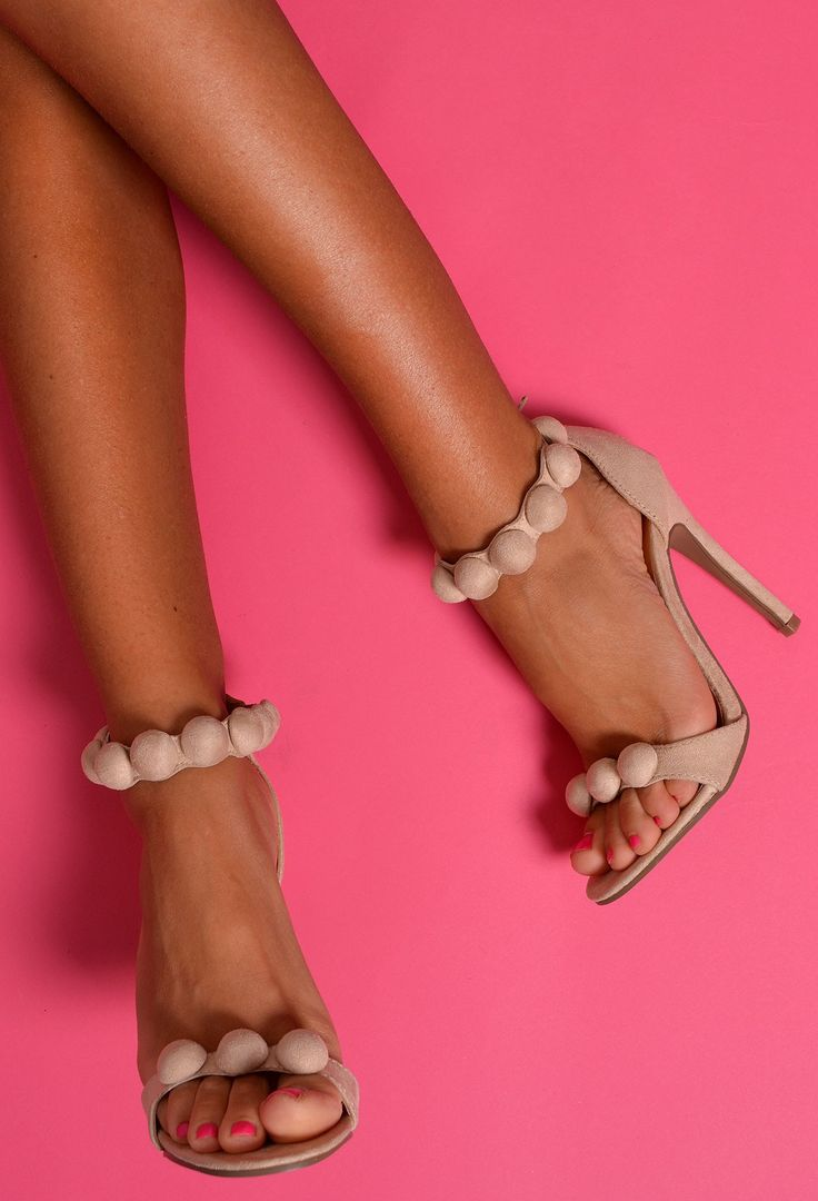 Get these Kim K inspired shoes for the ultimate glam look! >> www.pinkboutique.co.uk/shoes/canberra-cream-pom-pom-heels.html