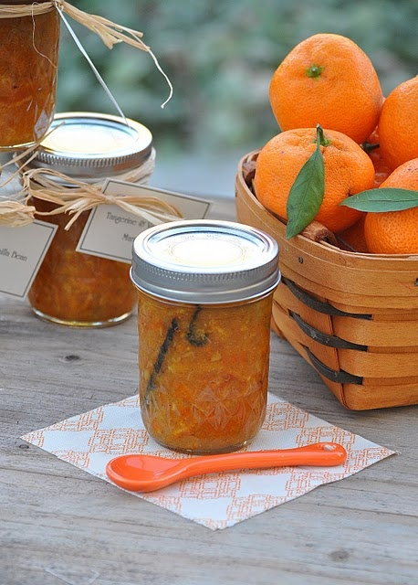 Tangerine and Vanilla Bean Marmalade. Oh, I wonder if Clementines would work, too? Lovely holiday or hostess gift.