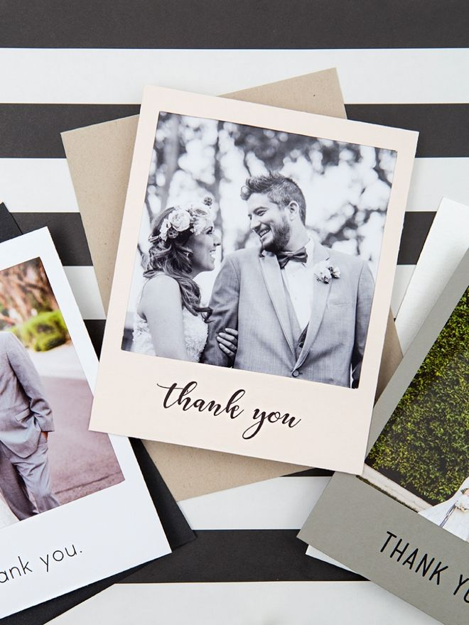 free online printable wedding thank you cards%0A Check Out These Adorable DIY   Polaroid   Photo Thank You Cards