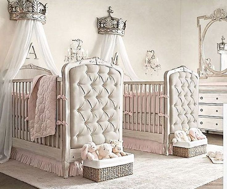 A gorgeous twin girl nursery via RH Baby and Child... - Home Decor For Kids And Interior Design Ideas for Children, Toddler Room Ideas For Boys And Girls