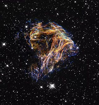 Celestial Fireworks from NASA/ESA Hubble Space Telescope.  Debris from a stellar explosion.