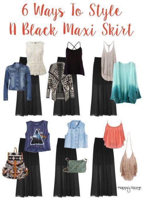 6 Ways To Style A Black Maxi Skirt