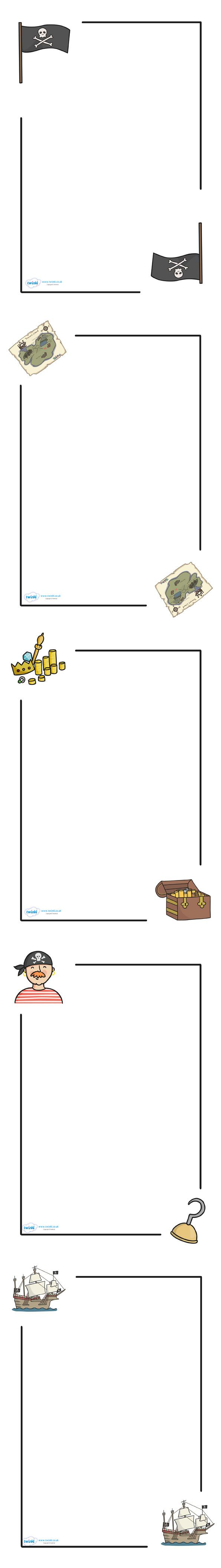 Twinkl Resources >> free printables. Pirate Page Borders  >> Thousands of printable primary teaching resources for EYFS, KS1, KS2 and beyond! activity, pirate, pirate themed, treasure, pirate ship, parrot, treasure chest, jolly roger, ship, island, ocean, page border, border, template,
