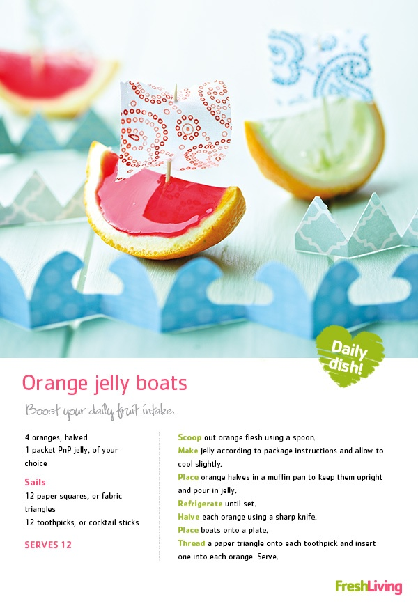 These very jolly #jelly boats are a fun way to spend time with your little chefs this Saturday! #recipe #jello #picknpay #dailydish #oranges